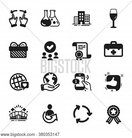 Set Of Business Icons, Such As World Brand, Share. Certificate, Approved Group, Save Planet. Chemist