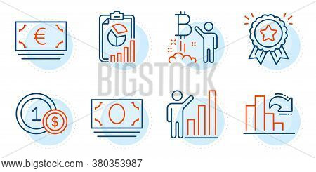Decreasing Graph, Loyalty Award And Graph Chart Signs. Euro Currency, Usd Coins And Bitcoin Project