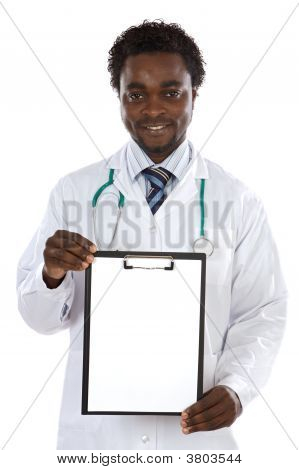 Attractive Young Doctor With Poster
