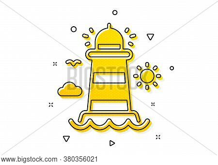 Beacon Tower Sign. Lighthouse Icon. Searchlight Building Symbol. Yellow Circles Pattern. Classic Lig