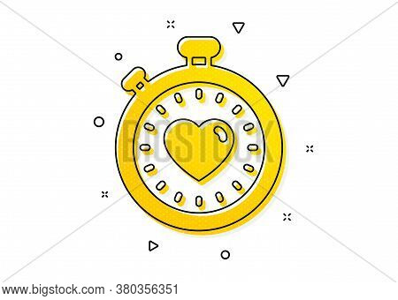 Love Symbol. Heart In Timer Icon. Valentines Day Stopwatch Sign. Yellow Circles Pattern. Classic Hea