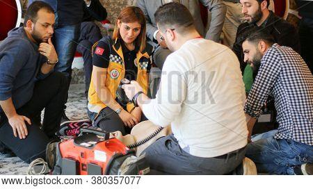Antakya, Turkey December 13, 2019:\na Doctor Trains Nurses On First Aid