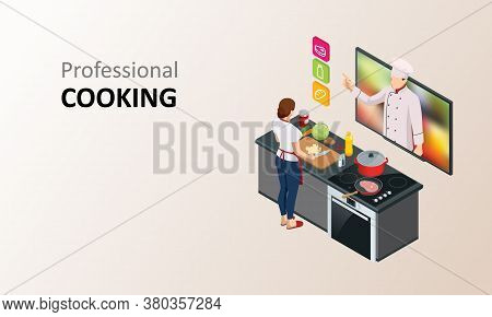 Isometric Cooking School Blog. Woman Chef Cooking While Streaming Online For Webinar Masterclass Les