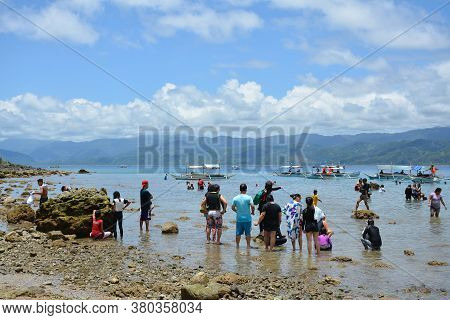 Aurora, Ph - April 21 - People Gather At White Beach Resort On April 21, 2019 In Dingalan, Aurora, P