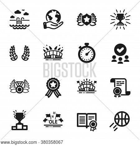 Set Of Sports Icons, Such As Basketball, Diploma. Certificate, Approved Group, Save Planet. Arena St