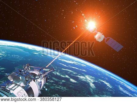 Laser Cannon Incapacitates Enemy Satellite. 3d Illustration.