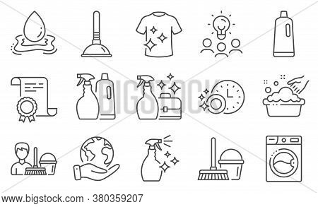 Set Of Cleaning Icons, Such As Washing Machine, Shampoo. Diploma, Ideas, Save Planet. Dishwasher Tim