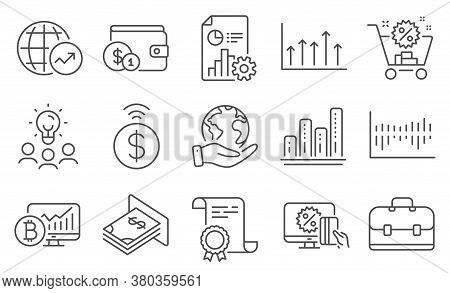 Set Of Finance Icons, Such As Report, Online Shopping. Diploma, Ideas, Save Planet. Portfolio, Bitco