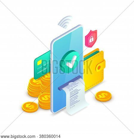 Online Payment, Electronic Bank App, Successfull Money Transfer Isometric Concept. Online Shopping 3