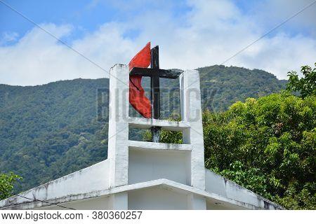 Aurora, Ph - April 21 - United Methodist Church Facade Sign On April 21, 2019 In Dingalan, Aurora, P