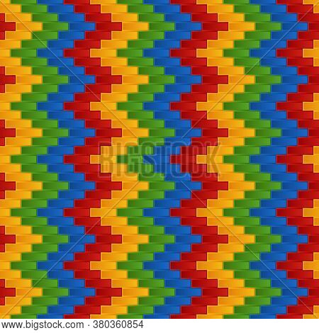 Seamless Pattern Of Geometric Blocks Stylized Bricks With Zigzag Ornament. Continuous Graphic Symmet