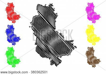 Rhone Department (france, French Republic, Auvergne-rhone-alpes Region, Ara) Map Vector Illustration