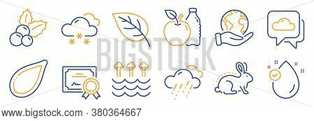 Set Of Nature Icons, Such As Vitamin E, Leaf. Certificate, Save Planet. Snow Weather, Pumpkin Seed,