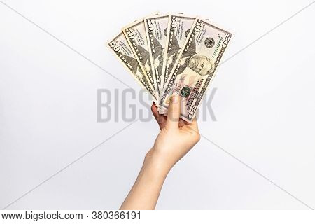 Fifty Dollars Banknote In Hand, Cash Money To Spend Right Now. Economic Crisis As A Consequences Of