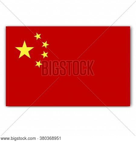 Chinese Flag. Vector Illustration Of A Symbol Of China. National Symbol Of The Silk Republic.