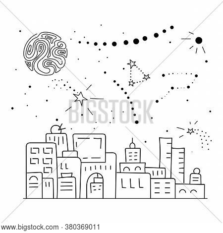 Constellations And Stars Over The City. Panorama Of The City In A Row. Hand Drawn Vector Illustratio