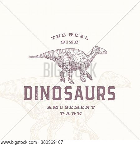 Real Size Dinosaurs Amusement Park Abstract Sign, Symbol Or Logo Template. Hand Drawn Iguanodon Rept
