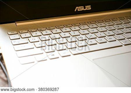 Shanghai - May 17, 2016: Asus Zenbook Laptop Keyboard, Closeup Digital Technologies, It Concept, Cop