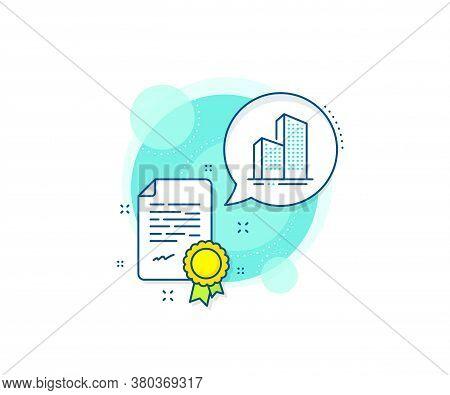 City Architecture Sign. Certification Complex Icon. Skyscraper Buildings Line Icon. Town Symbol. Cer