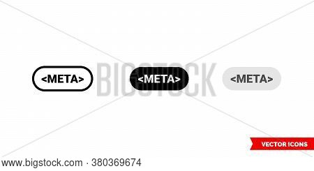 Meta Icon Of 3 Types Color, Black And White, Outline. Isolated Vector Sign Symbol.