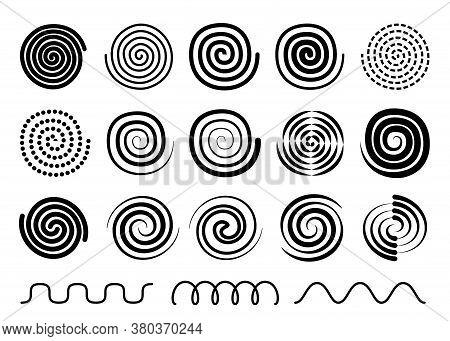 Vector Swirl, Twist, Spiral Set, Collection Of Swirl Memphis Design Elements, Black Outline Silhouet