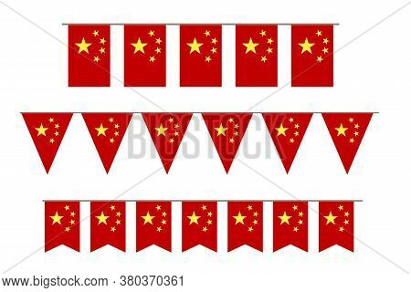 Bunting Of Chinese Flags. Garland Of The National Symbols Of China Decoration For China. Banner Made