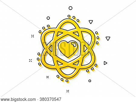 Energy Sign. Atom With Heart Icon. Chemical Element Symbol. Yellow Circles Pattern. Classic Atom Ico