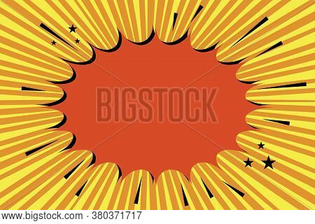 Background From Cartoon Bang. Abstract Boom From A Bomb. Red Yellow And Orange Halftone Explosion.