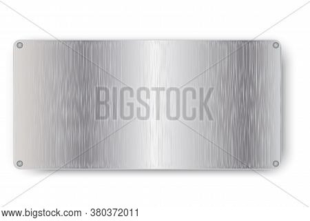 Metal Steel Plate. Stainless Steel Texture. A Shiny Piece Of Metal With Rivets. Chrome Plated Surfac