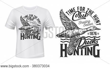 Duck Bird Hunting T-shirt Print Vector Mockup. Emblem With Flying Wild Duck Drake, Mallard Engraved