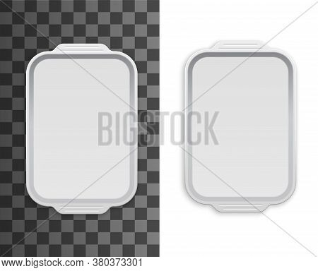 Tray, Disposable Plastic Food Package Box, Container Mockup, Vector White Empty Pack. Food Tray Of W