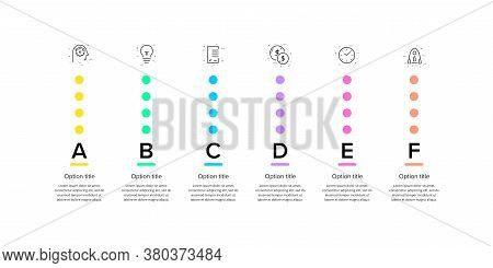 Business Process Chart Infographics With 6 Step Circles. Circular Corporate Workflow Graphic Element