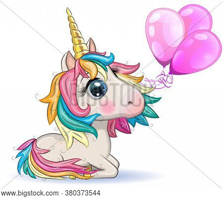 Cute Magical Unicorn Holds Balloons. Greeting Card, Concept, Print, Design.
