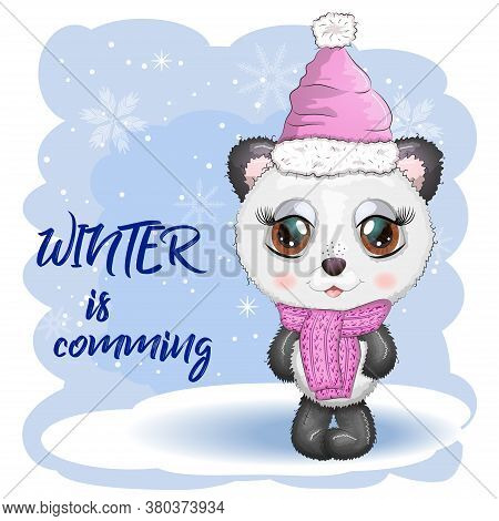 Cute Cartoon Panda Bear With Big Eyes In A Scarf And Hat. Winter Is Coming. Boy And Girl, Greeting C