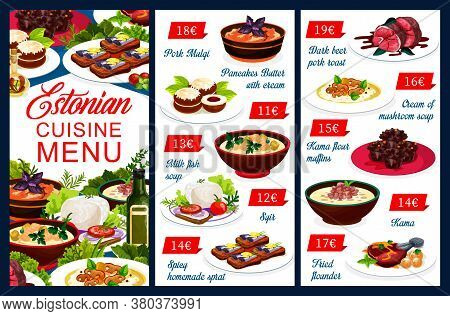 Estonian Cuisine Vector Menu Food Meals Pork Mulqi, Pancakes Butter With Cream And Milk Fish Soup. H