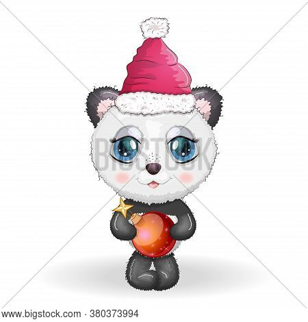 Cute Cartoon Panda Bear With Big Eyes In A Red Santa Claus Hat With A Christmas Ball. Greeting Card,