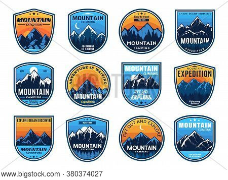 Mountain Climbing, Camping Travel Icons, Tourism Sport And Outdoor Travel, Vector. Mountain Camping