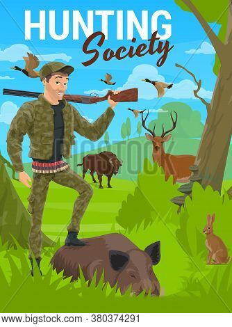 Hunting, Forest Deer And Wild Animals, Hunter With Rifle On Trophy, Vector. Hunting Season For Deer