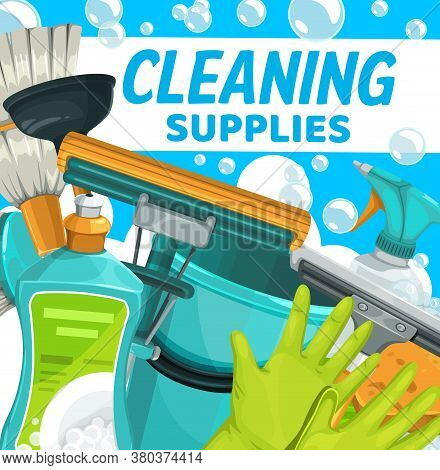 Cleaning Supplies, Household Clean Home Vector Bucket, Detergents And Cleaner Sponge. Cleaning Servi