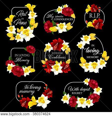 Funeral Frames And Obituary Card Borders, Vector Memorial Condolences. Funeral Floral Frames Black P