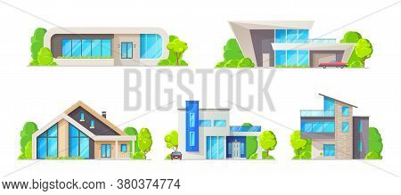 House Building Isolated Icons, Vector Real Estate Cottage Homes. Modern Bungalow, Villa And Mansion