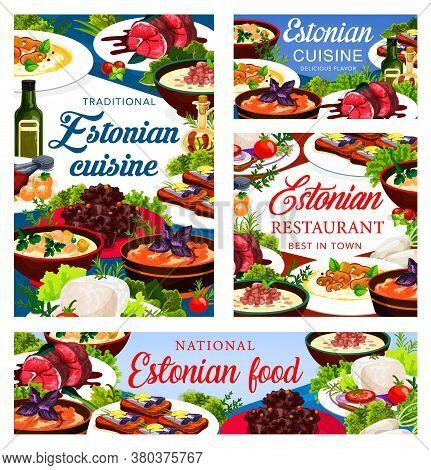 Estonian Cuisine Vector Food Meals Pork Mulqi, Milk Fish Soup, Syir, Homemade Sprat. Dark Beer Pork