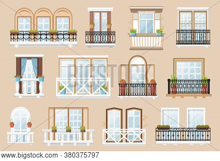 Windows And Balconies Vector Exterior And Interior Architecture Decoration. Vintage Facade Building