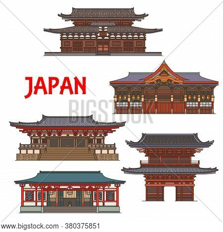 Japanese Temples, Shrines, Japan Pagoda Houses, Vector Traditional Architecture Buildings And Gates.