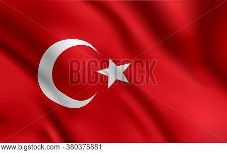 Turkish Flag, Turkey Country National Identity, Vector Design White Moon And Star On Red Waving Back