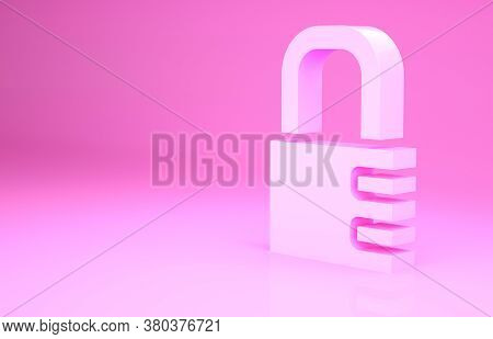 Pink Safe Combination Lock Icon Isolated On Pink Background. Combination Padlock. Security, Safety,