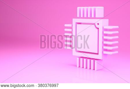 Pink Computer Processor With Microcircuits Cpu Icon Isolated On Pink Background. Chip Or Cpu With Ci