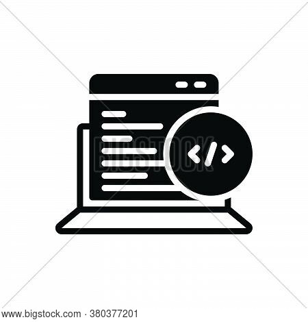 Black Solid Icon For Web-coding Summarize Arrange Catalogue Condense Metadata Programmer Script Codi