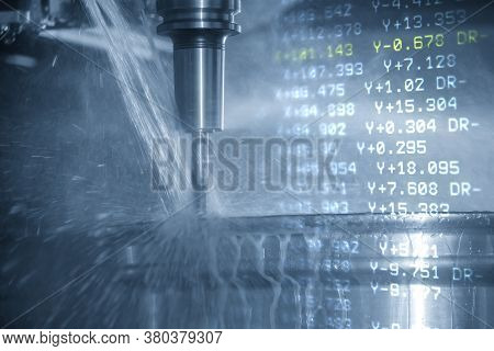 Abstract Scene Of Cnc Milling Machine And G-code Data Background Cutting The Magnesium Alloy Wheel P