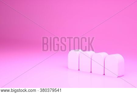 Pink Dentures Model Icon Isolated On Pink Background. Teeth Of The Upper Jaw. Dental Concept. Minima